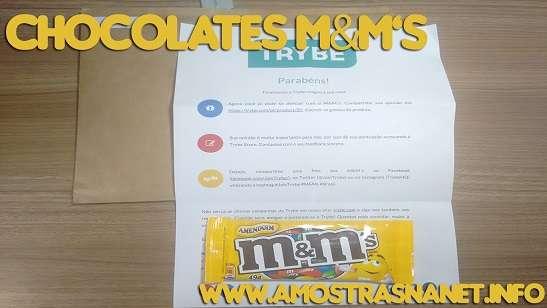 Chocolates M&M's recebidos gratis
